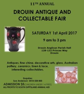 Drouin Antiques & Collectibles Fair @ Drouin Anglican Church Hall | Drouin | Victoria | Australia
