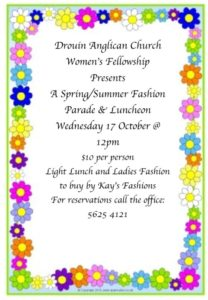 Women's Fellowship Spring Fashion Parade @ Parish Hall | Drouin | Victoria | Australia
